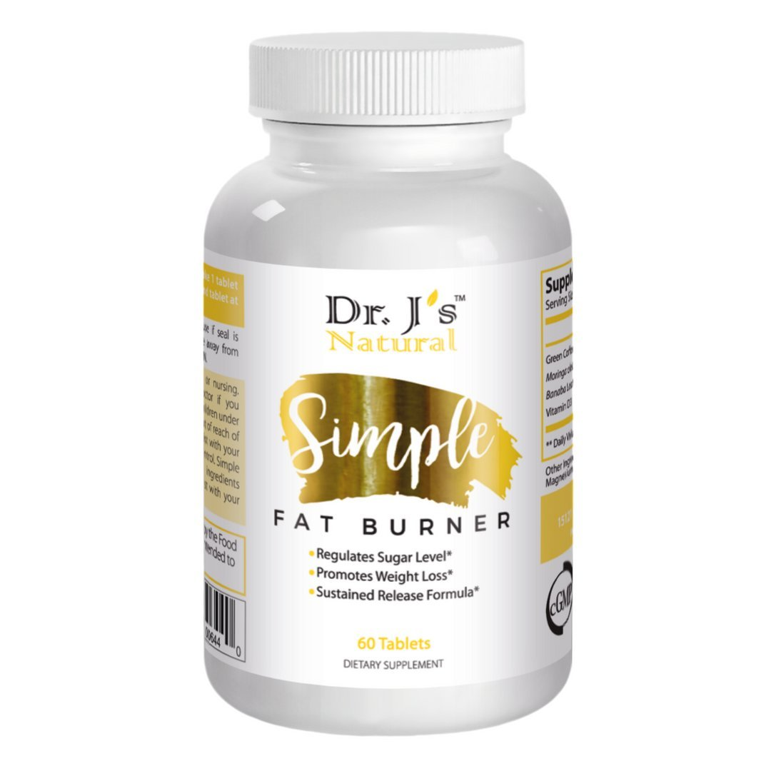 Dr J's Natural Simple Fat Burner Capsules for Women and Men   Lose Weight Fast with Appetite Suppressant, Metabolism Support, Endurance & Energy Booster   Diet Pills 60ct