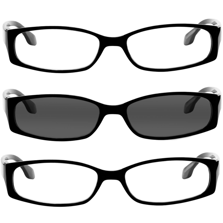 4de6cadea030 Amazon.com  Reading Glasses 1.00 2 Black 1 Black Sun (3 Pack) F503  TruVision  Clothing