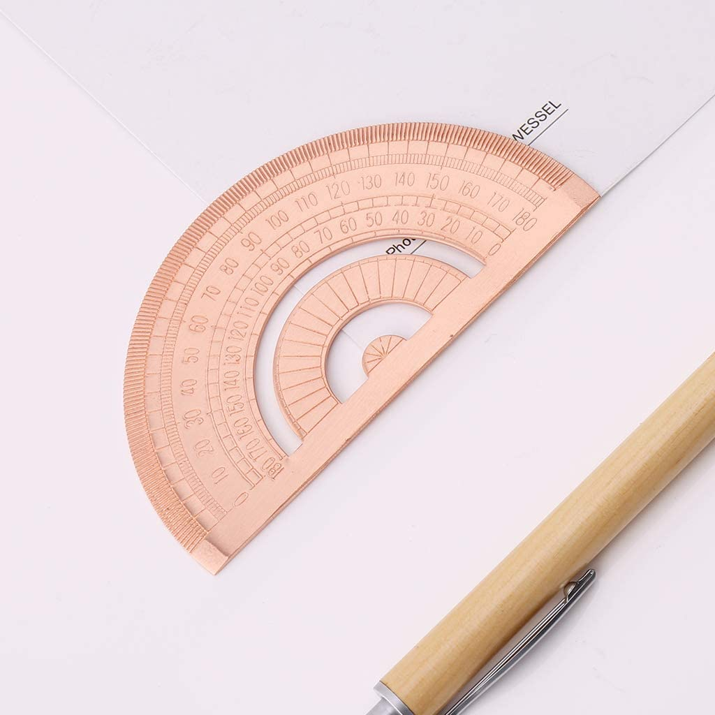 Cher9 Retro Copper Protractor Ruler Semicircle Drawing Measurement Math Geometry Tool For Students Stationery