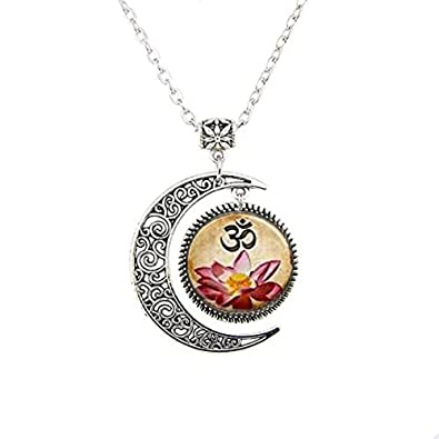Colgante de Yoga, Om collar, rosa flores de loto flor arte ...