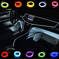 Car Light Strips USB 2M/6FT Cold Interior Trim Bright Car Decorative Atmosphere Electroluminescent Wire Tube Circle Up…