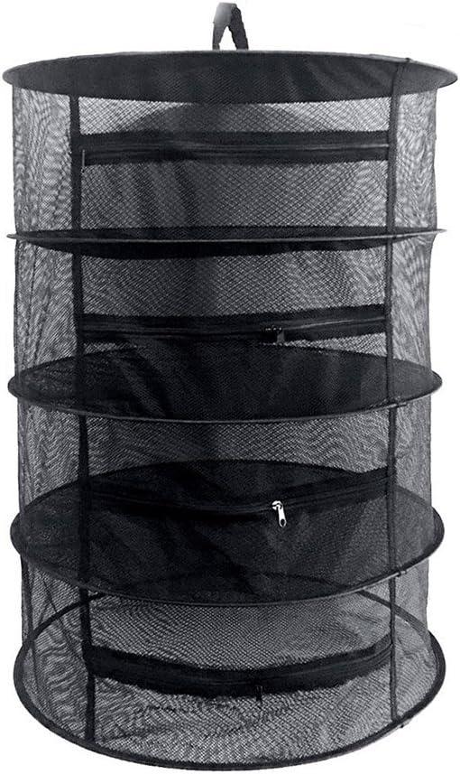 lzndeal Hierba Secado Rack Net 4 Capas Hierba secador Malla Colgante Racks secador con Cremallera