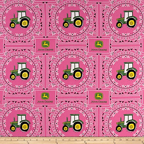 Springs Creative Products John Deere Bandana Tractor Pink Fabric by The -