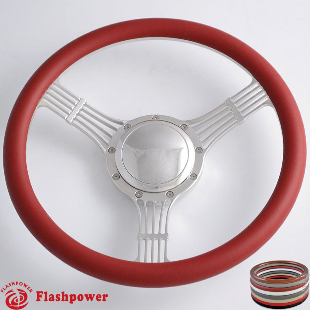 Flashpower 14'' Billet Banjo Half Wrap 9 Bolts Steering Wheel with 2'' Dish and Horn Button (Burgundy)