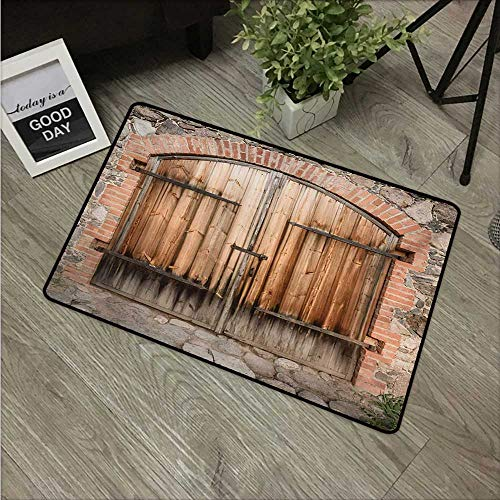 HRoomDecor Rustic,Kids Floor mats Wooden Door of a Stone House with Wrought Iron Elements Tuscany Architecture Photo W 31