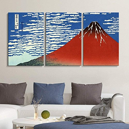 3 Panel World Famous Painting Reproduction Red Fuji South Wind Clear Sky by Katsushika Hokusai x 3 Panels