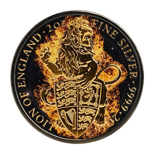 2016 UK Queen's Beasts - Burning Lion of England 2oz Ruthenium & Gold Plated Silver Coin - United Kingdom £5 Mint (Modern United States Proof Coin)