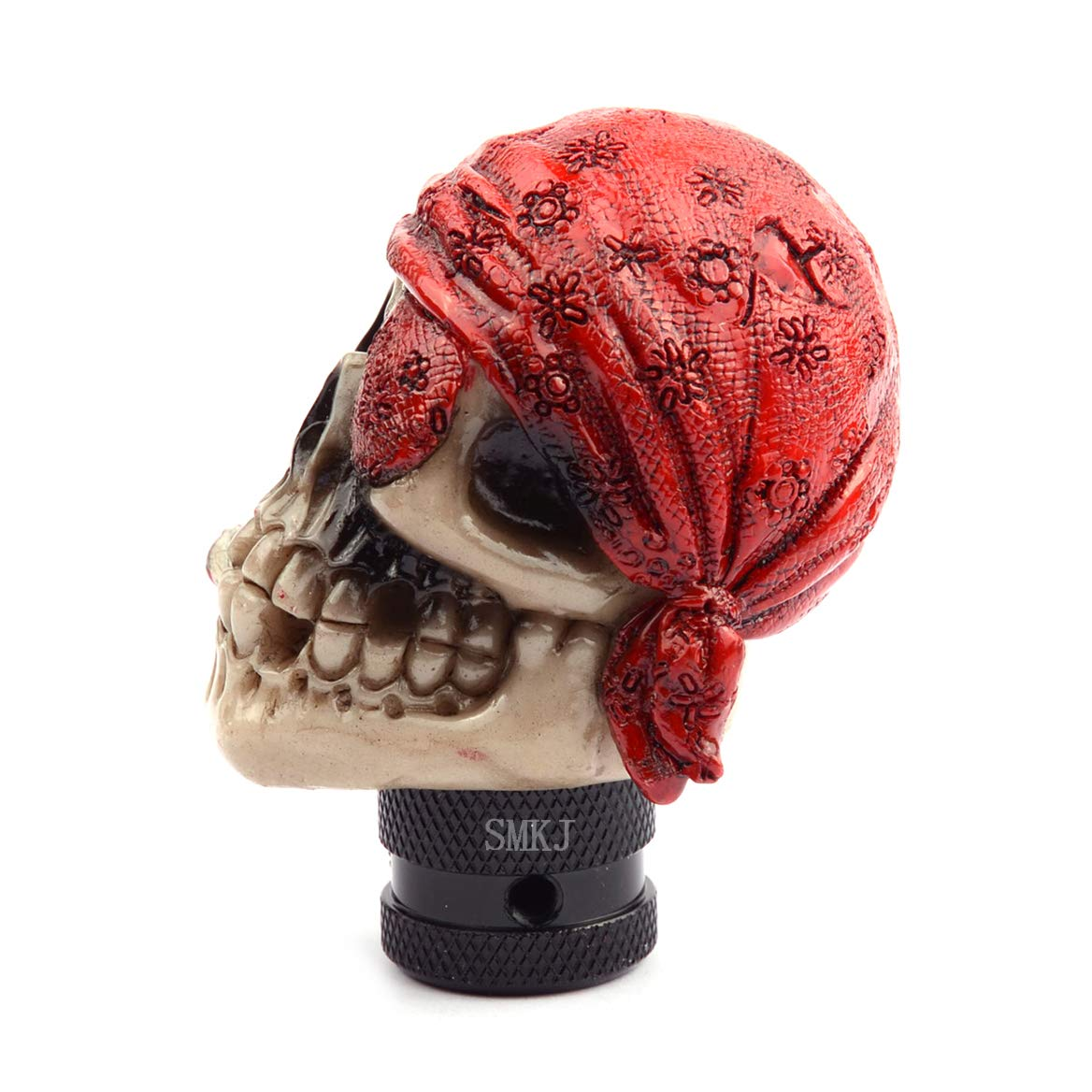 SMKJ One-eyed Skull Head Gear Stick Shift Shifter Knob Universal Shift Knob Fit for Manual Automatic Gear Stick Car Knobs Without Button or Lock red