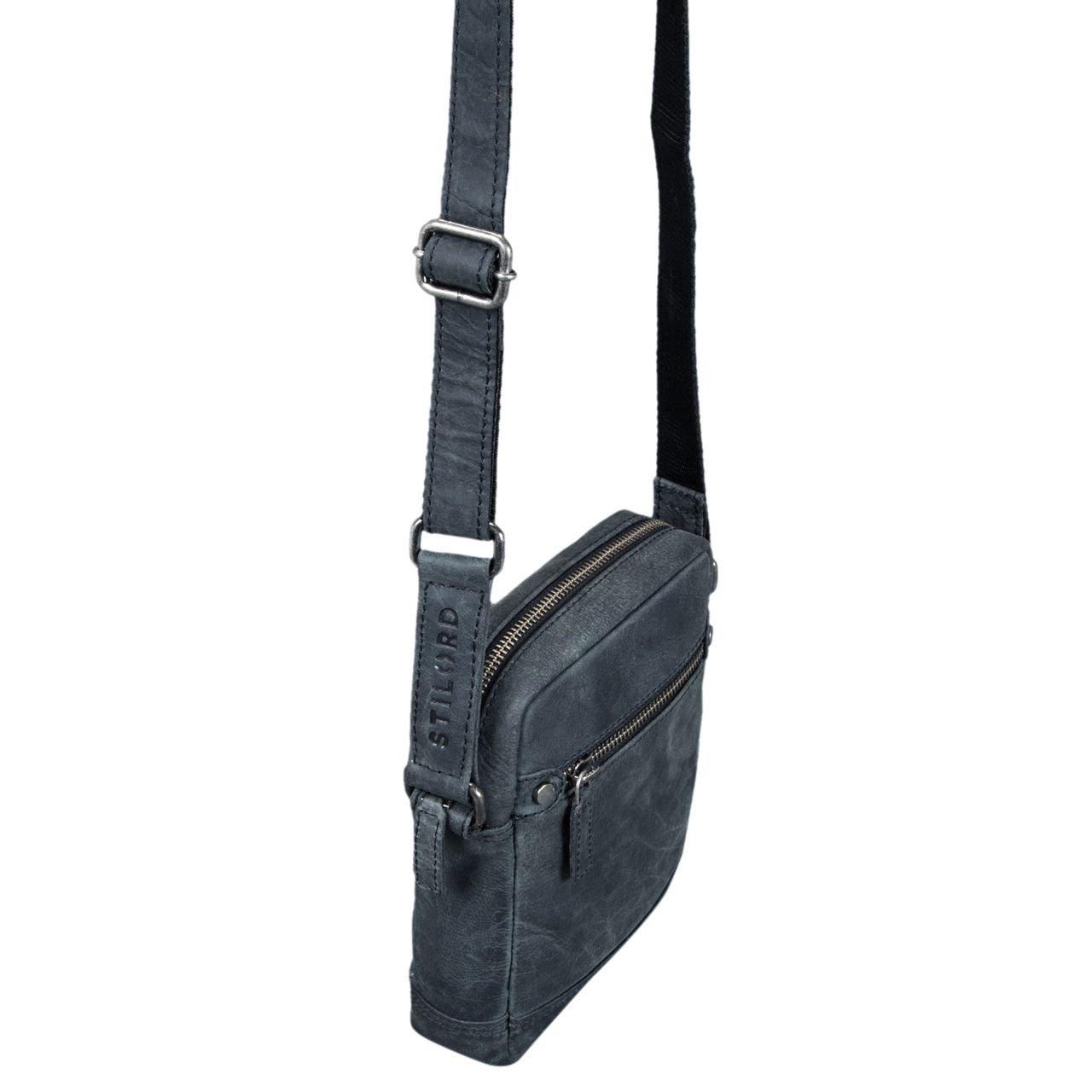 3ec0c551ddee5 STILORD  Pepe  Vintage Schultertasche Herren Leder klein Umhängetasche für  Männer kompakte Cross Body Bag mit Schultergurt und Reißverschluss aus  echtem ...