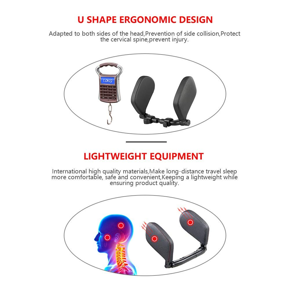 Width and Height Adjustable GEHARTY Car Seat Headrest Pillow Comfortable Leather Memory Foam Head Neck Support Pillow Easy to Install Suitable for Adults and Kid