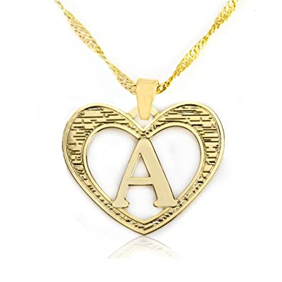 Amazon beautiful initial heart pendant necklace 24k gold beautiful initial heart pendant necklace 24k gold plated personalized charm choose your letter a aloadofball Image collections