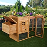 JAXPETY 78'' Chicken Coop Backyard Hen Nest Box Deluxe Wooden Rabbit House Wood Hutch with Rooftop Planter