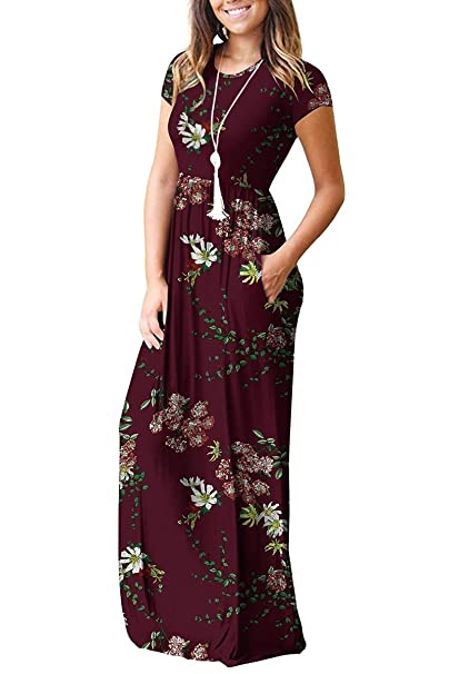 Women's Short Sleeve Casual Maxi Long Dresses with Pockets