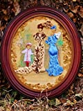 Ribbon & Stumpwork Embroidery of Victorian Ladies and Child Fashion on Fabric From Journal Des Dames in Antique Wood Oval Frame 14 '' X 12 ''