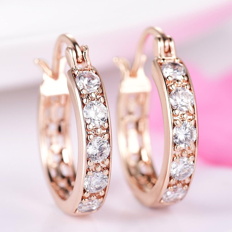 Amazon.com: 18K Gold Plated Huggies Earrings Jewerly Zircon CZ ...