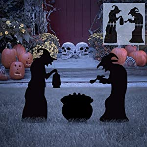 EPROSMIN Halloween Decorations Outdoor, 2 Witches Black Cauldron Silhouette Yard Signs with Stakes, Scary Family Home Front Yard Party Plastic Decor