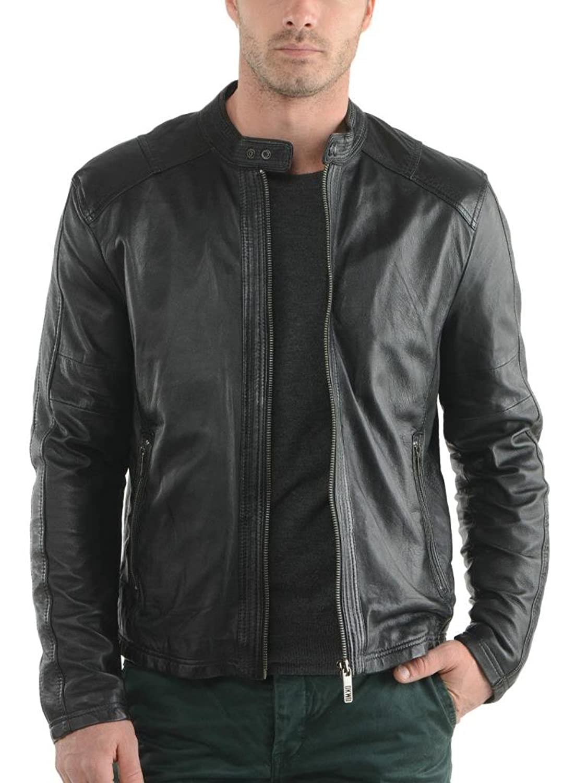 ABDys Men's Lambskin Leather jacket DKC720 Black
