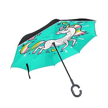 FANTAZIO Paraguas invertido Love Bonito Unicornio Doble Capa protección UV reversa Paraguas autosoporte Forma C asa