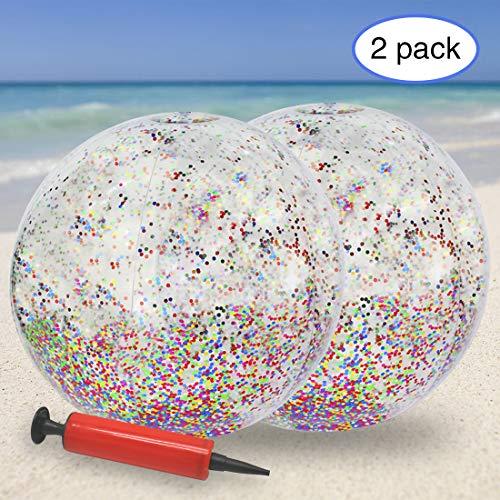 KOMIWOO Glitter Beach Ball, Confetti Beach Ball, Inflatable Beach Ball Bulk Pool Toys for Kids Summer Party Favors (2pack,24inch)