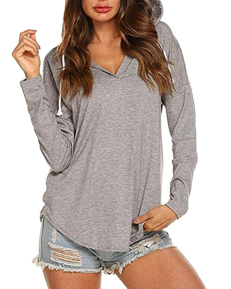 Fanspt Women Casual Hoodies Long Sleeve Tops Blouse Drawsting Sweatshirts Crop Top Hoodies