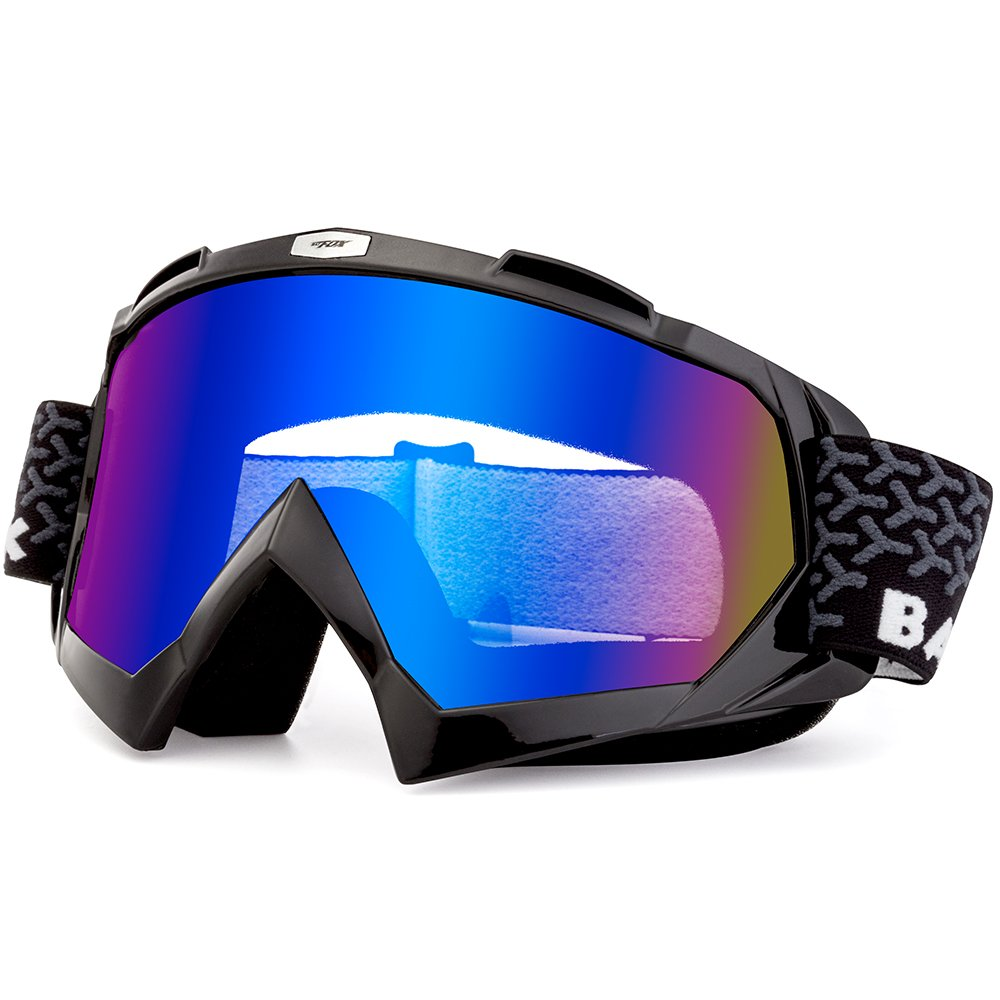 BATFOX Motorcycle Goggles Dirt Bike ATV Motocross Safety ATV Tactical Riding Motorbike Glasses Goggles for Men Women Youth Fit Over Glasses UV400 Protection Shatterproof (Black&Blue)