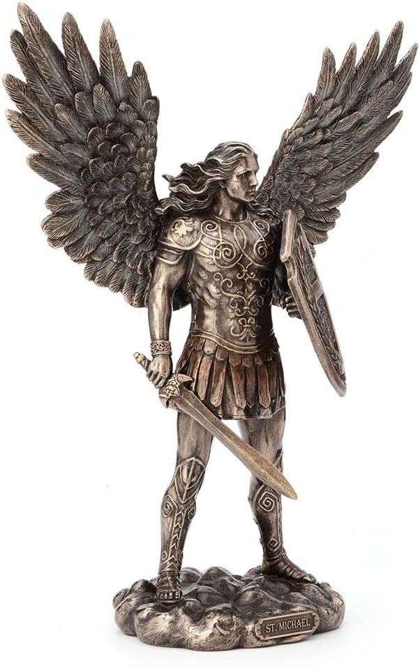 Michael the Archangel Religious Sculpture Unicorn Studios WU74700A8 Pewter and Gold St