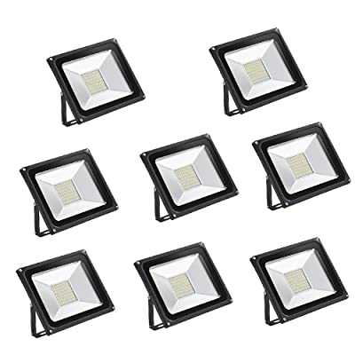 CSHITO 8 Pack 50W LED Flood Lights, Waterproof IP65 Outdoor Flood Lights, 4000LM Warm White (2800K-3000K), Super Bright Security Lights for Garden, Yard, Stadium, Factory, Warehouse, Square
