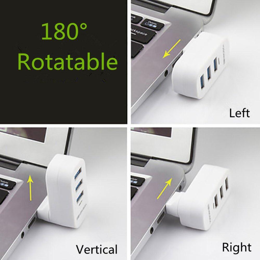 90/°//180/° Degree Rotatable Sudroid Yuanxin 3-Port USB 3.0 Rotatable Hub White