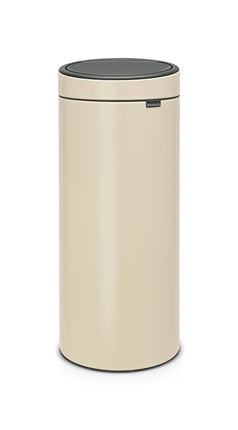 Brabantia Touch Bin Cubo de Basura, 30 litros, Acero Inoxidable, Almond, 32 x 29.5 x 72 cm