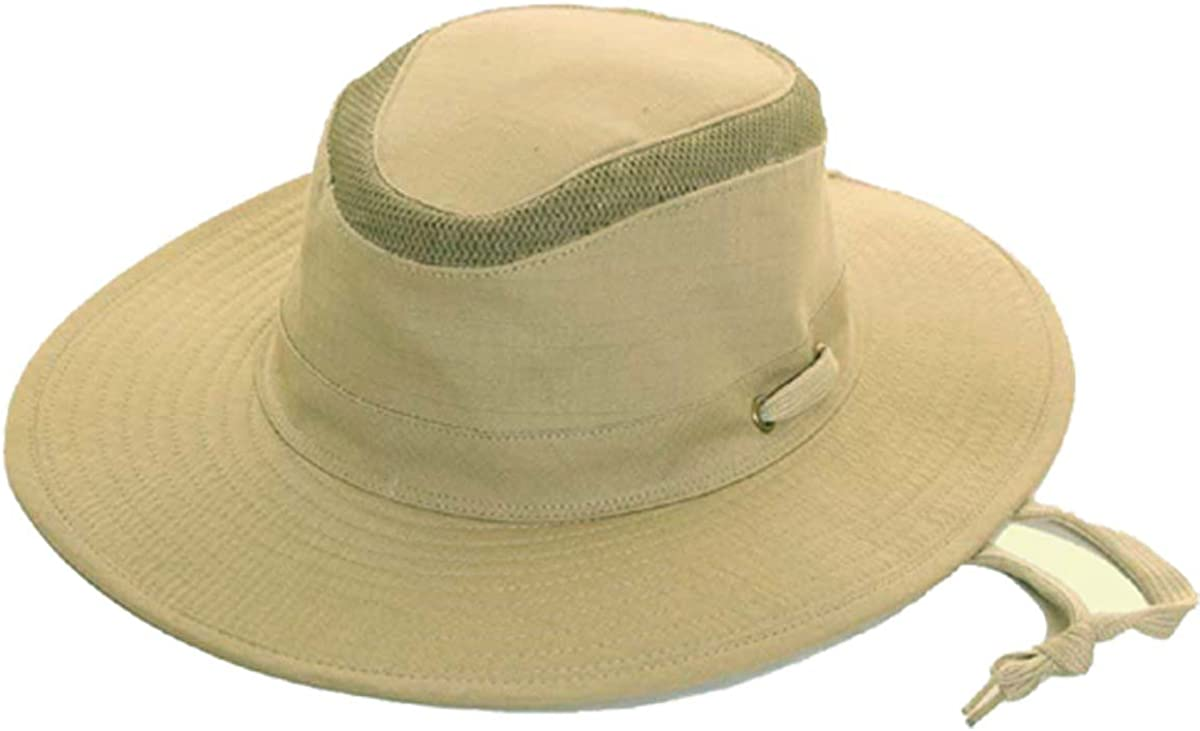 Mesh Top Sun Hat Extra Wide Brim Hat with Chin Strap by Earland Brothers be