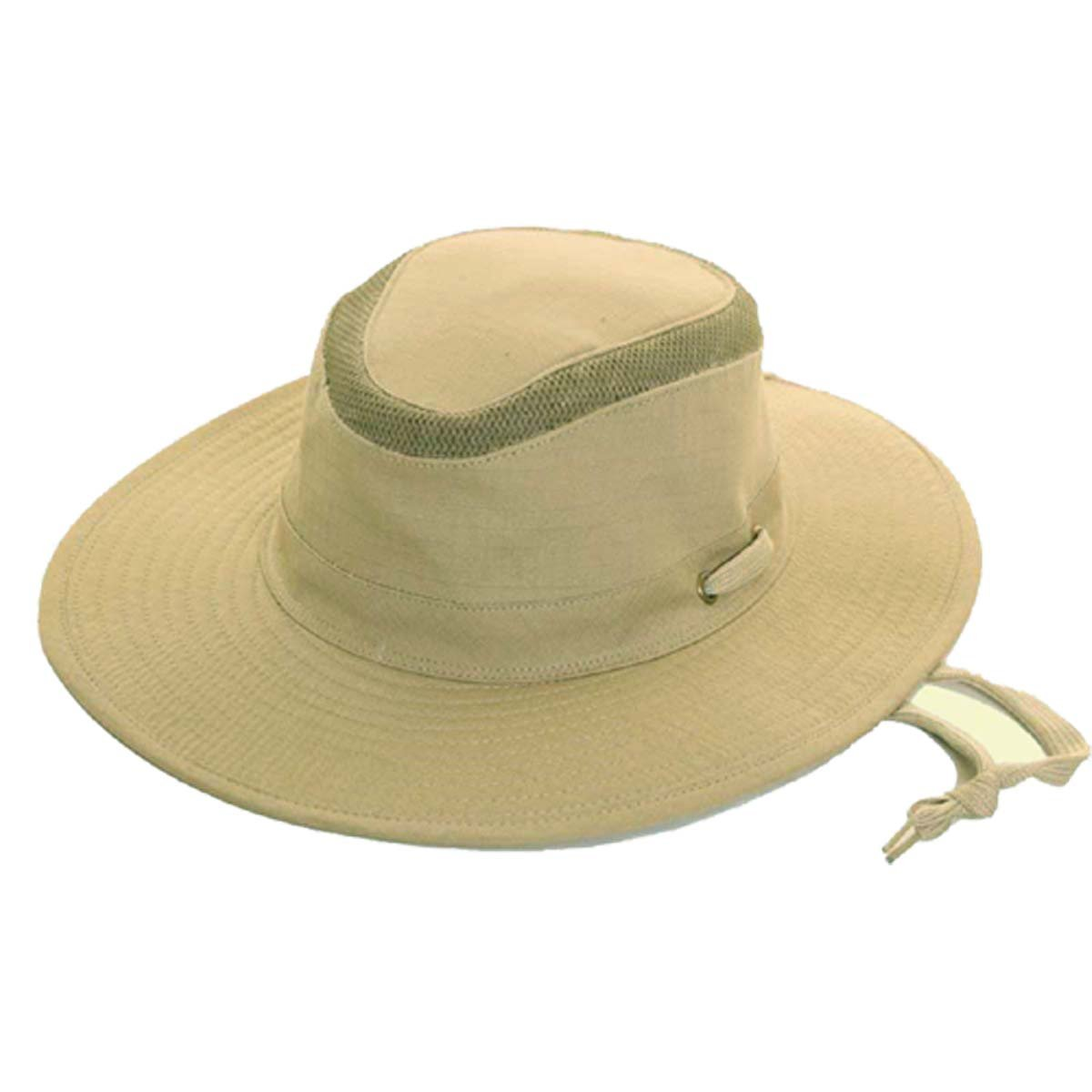 be! Mesh Top Sun Hat Extra Wide Brim Hat with Chin Strap by Earland Brothers