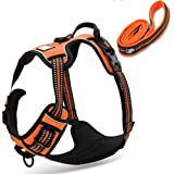 fiE FIT INTO EVERYWAY Range Of Front Side No Pull Dog Harness Outdoor Adventure 3M Reflective Pet Vest with Handle Adjustable Protective Nylon Walking Pet Harness (S, Orange Set)