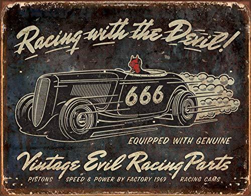 - Desperate Enterprises Vintage Evil Racing Parts Tin Sign, 16