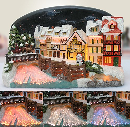 BANBERRY DESIGNS Northern Lights LED Christmas Village House with Santa Claus on a Sleigh Fiber Optic