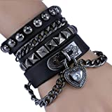 Bystar Bracelet of Punk Rock Rivet Wrap Retro Multi Circle Unisex Heart Chain Genuine Leather 4-Color Creative