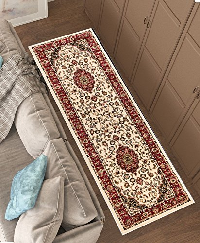 Persian Classic Ivory 2'7'' x 9'6'' Runner Area Rug Oriental Floral Motif Detailed Classic Pattern Antique Living Dining Room Bedroom Hallway Home Office Carpet Easy Clean Traditional Soft Quality Cream Classic Dining Table