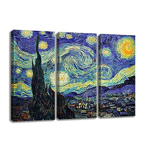 - KALAWA 3 Pieces Modern Home Decor Starry Night Van Gogh Famous Oil Paintings Reproduction Canvas Prints Artwork Abstract Landscape Wall Art Home Office Decorations(16