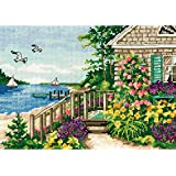 Dimensions 18 Count Gold Petite Bayside Cottage Counted Cross Stitch Kit, 7 by 5-Inch