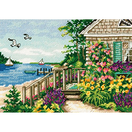 "Gold Petite Bayside Cottage Counted Cross Stitch Kit-7""X5"" 1"