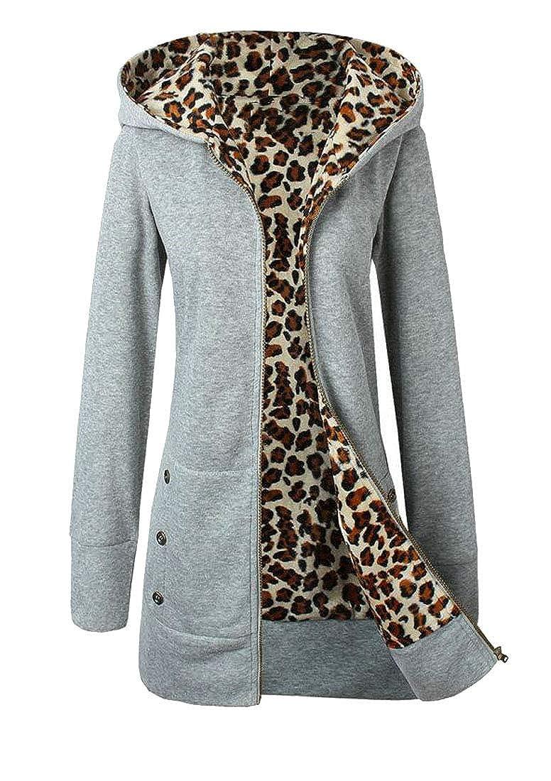 Wofupowga Womens Thicken Classic-fit Coat Top Leopard Fleece Hooded Sweatshirts