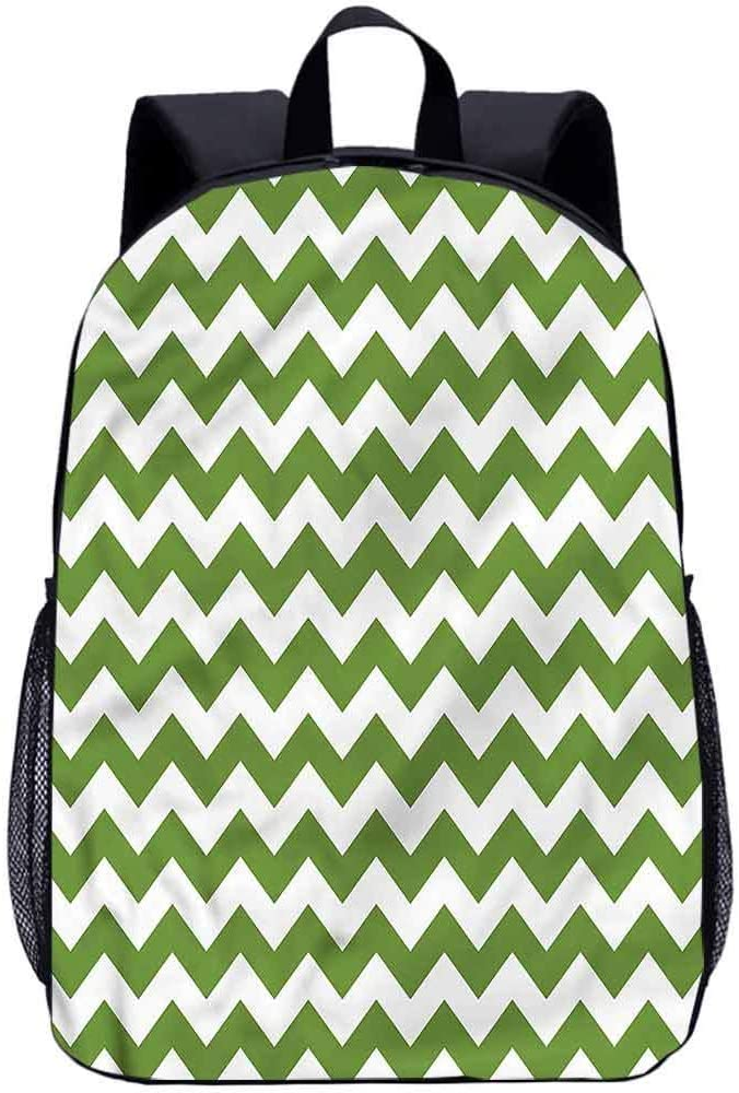 "Chevron 17"" School Backpack,Green Toned Zigzag Line Travel Backpack for Kids Adults"
