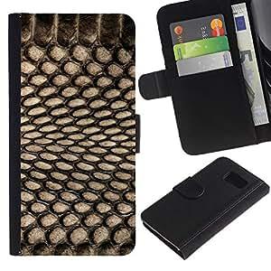 EuroTech - Samsung Galaxy S6 SM-G920 - Fashion Pattern Textile Black Net Spots - Cuero PU Delgado caso Billetera cubierta Shell Armor Funda Case Cover Wallet Credit Card