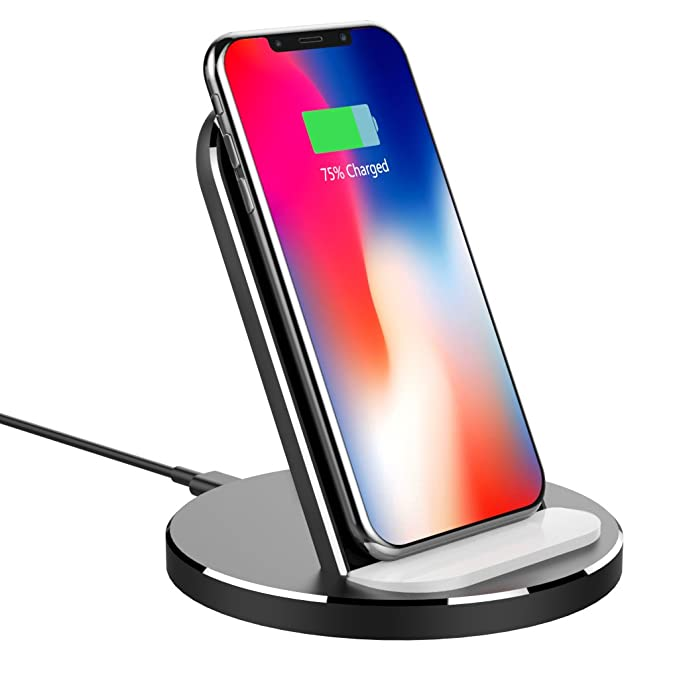 quality design a382f 939ef Wireless Charger Stand, XUNMEJ Qi Fast Wireless Charger Charging Pad Stand  for Phone X, XS, XS Max, XR iPhone 8/8 Plus, Galaxy S9 /S9 Plus/Note 8/ S8/  ...