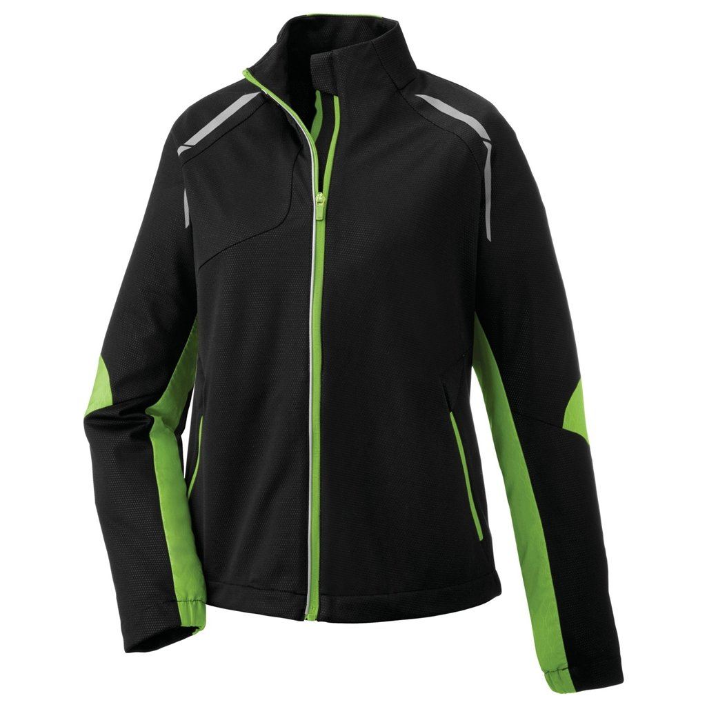 Ash City Ladies Dynamo Hybrid Performance Soft Shell Jacket (Small, Black Acid Green/Black Silk)