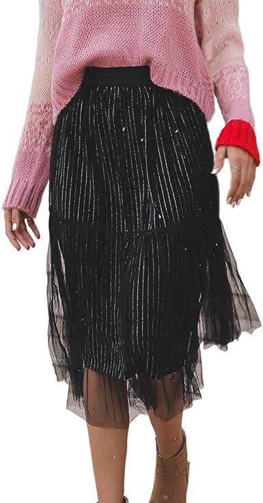 Lenfesh Falda Midi Moda de Mujer Sólido Falda de Malla Cintura ...