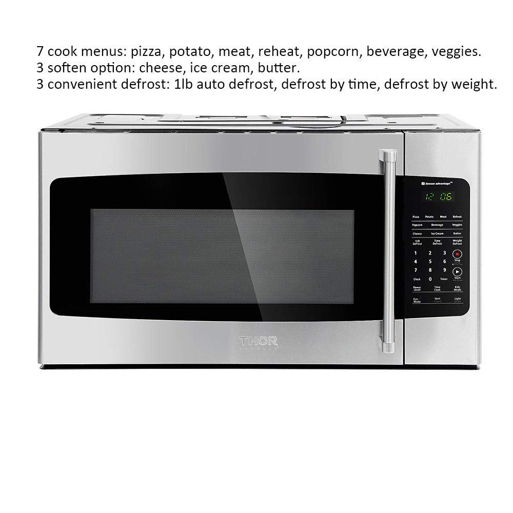 Thor kitchen 30micor 30in. W 1.7 cu. ft Over the Range Microwave in Stainless Steel with Sensor Cooking OTR, Large, by Thor Kitchen (Image #2)