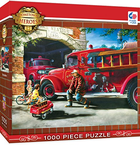 MasterPieces Hometown Heroes Firehouse Dreams - Vintage Firetruck 1000 Piece Jigsaw Puzzle by Dan Hatala Small Chipboard House