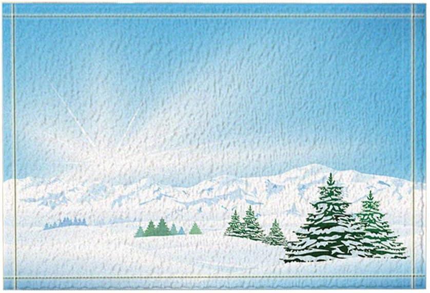 AdaCrazy Vector Dibujos Animados Ice Mountain Pine Tree Alfombras baño Alfombrilla Antideslizante Entradas Piso Alfombra Puerta Interior al Aire Libre Alfombra baño para niños 15.7x23.6in