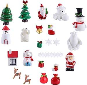 30pcs Christmas Miniature Ornaments Kit, Miniature Fairy Garden Christmas Accessories DIY Snow Globe Figurines, Resin Santa Snowman Reindeer Houses Micro Landscape Ornaments Xmas Party Decoration