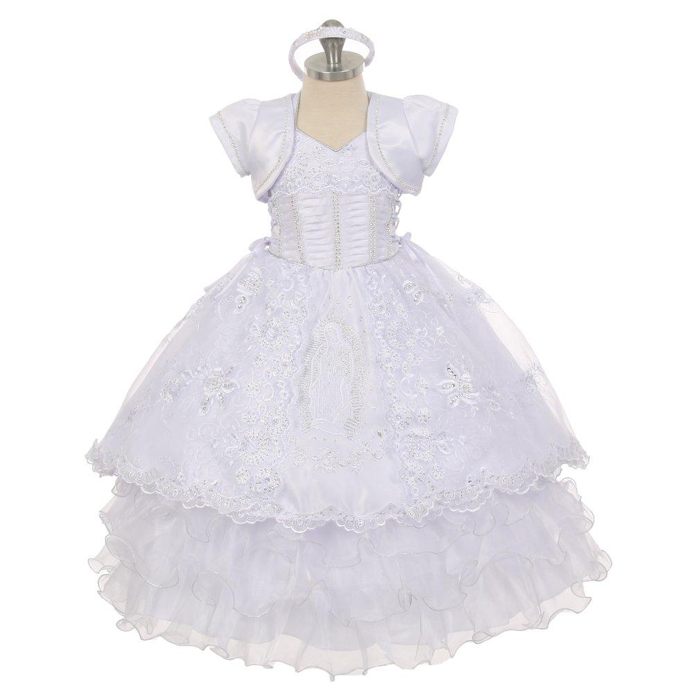 The Rain Kids Baby Girls White Virgin Mary Ruffle Detachable Baptism Dress 12M